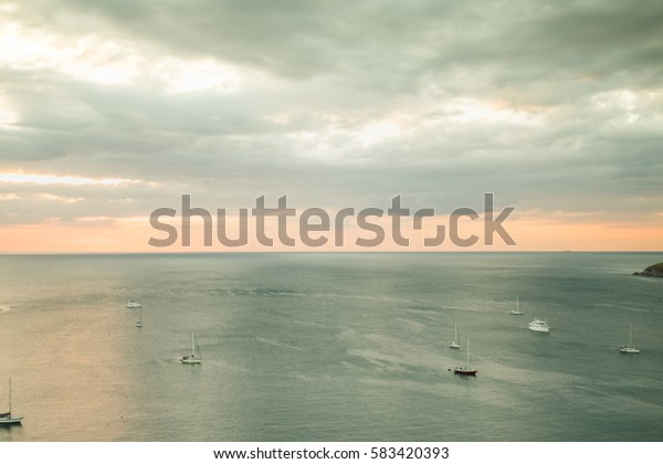 beautiful sea scape photography with boat