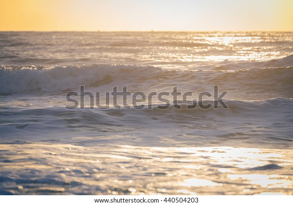 beautiful sea with sunlight in the morning day, holiday trip background, image used vintage filter