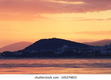 Beautiful sea sunset over Split city in Croatia