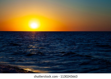 Beautiful sea at sunset. Seascape.