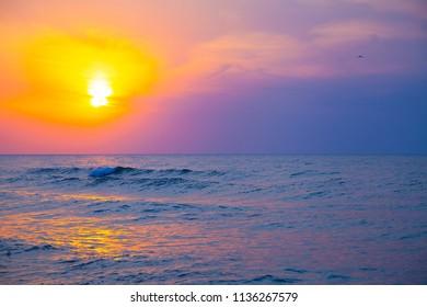 Beautiful sea at sunset. Seascape.