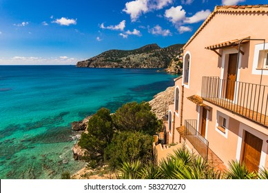 Beautiful sea view of the bay Camp de Mar, Majorca island, Spain Balearic Islands.