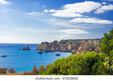 beautiful sea view with cliffs of Praia da Rocha in Portimao, Algarve region, Portugal