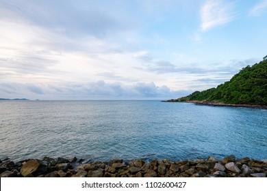 Beautiful Sea view in morning at Kao Lam Ya Nation Park Rayong, Thailand.