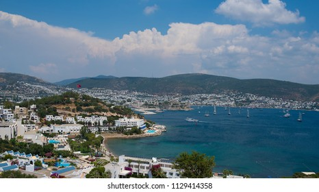 Beautiful sea view on hotels and resorts of Turkish city Bodrum. Aegean Sea, Turkey.