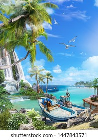 Beautiful sea view with palm trees and waterfalls. Fishing spoons at the pier. Digital fresco.