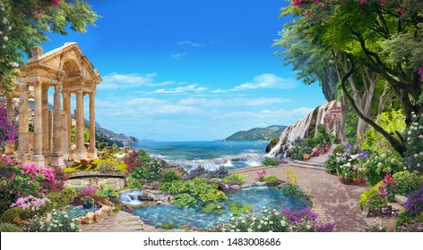 Beautiful sea view from a Roman garden with flowers and a lake.  Digital collage , mural and fresco. Wallpaper. Poster design. Modular panno.