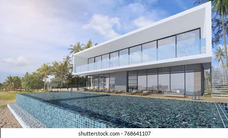 Beautiful Sea view swimming pool in modern loft design,Luxury ocean Beach house, 3d rendering