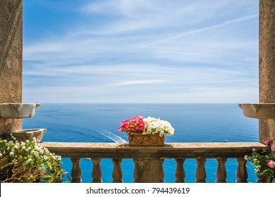 beautiful sea view in the town of Positano from antique terrace with flowers, Amalfi coast, Italy. balcony with flowers