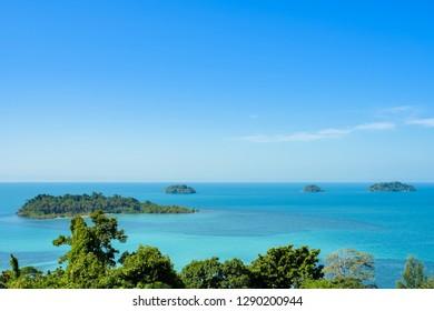 Beautiful sea viewpoint at Kaibae Viewpoint in Koh Chang, Trad, Thailand.