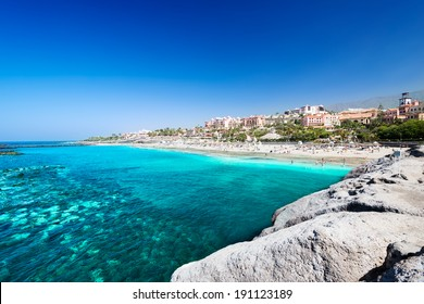Beautiful sea water of tropical El Duque beach, Tenerife, Canary islands, Spain