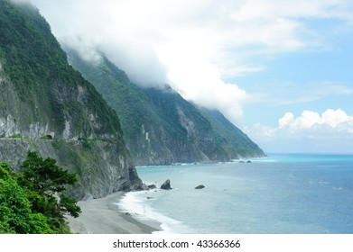 Beautiful seacoast, blue sky and cliff in east taiwan