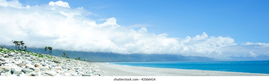 Beautiful seacoast and blue sky in east taiwan