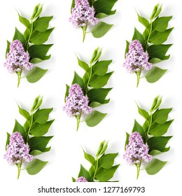 beautiful seamless pattern of lilac and green leaves inflorescences on a white background, flat lay, top view, square