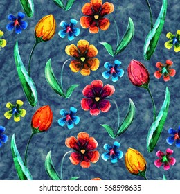 Beautiful seamless vintage pattern with tulip and poppy flowers on blue  background. Watercolor hand drawn.