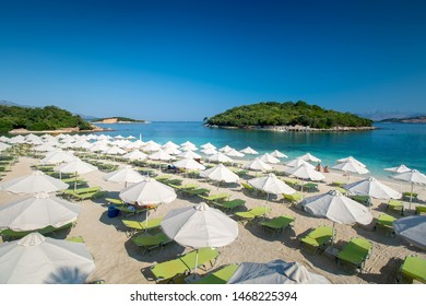 Beautiful seascape. Albanian beach near Ksamil city.