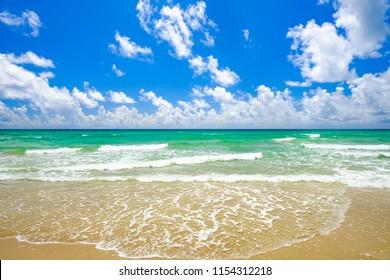 Beautiful seascape along the shoreline in Hollywood Beach, Florida.