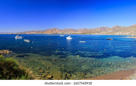 Beautiful seascape, boats, mountains, beautiful views, Murcia