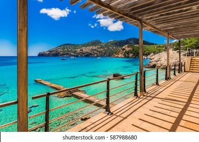 Beautiful seascape in Camp de Mar, Spain Majorca island, idyllic sea view scenery, Balearic Islands, Mediterranean Sea.