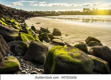 beautiful seascape of Caroline Bay Beach in Timaru, New Zealand