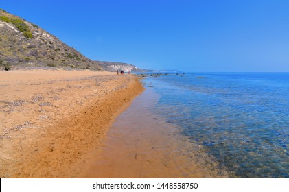 beautiful seascape with clear turquoise water on the beach Torre Salsa, Siculiana, Agrigento Sicily, Italy