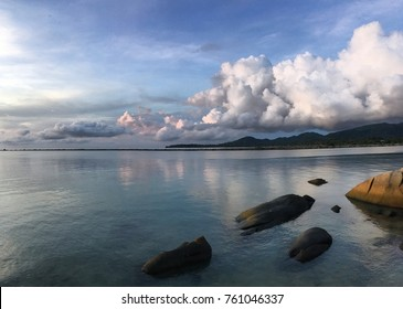 Beautiful seascape with clouds and stones