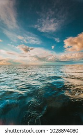 Beautiful seascape evening sea horizon and sky. Tranquil scene. Natural composition of blue water nature
