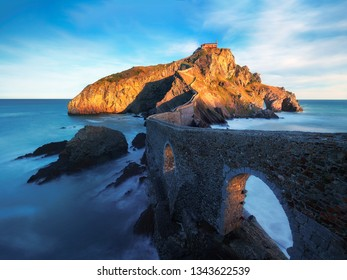 Beautiful seascape of Gaztelugatxe in Basque Country on sunny day