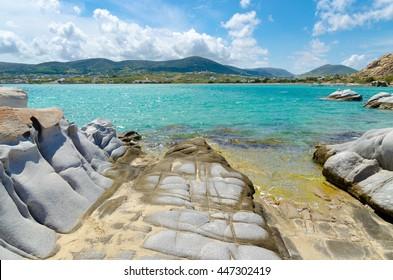 Beautiful seascape of Kolymbithres beach, Paros island, Cyclades, Greece.