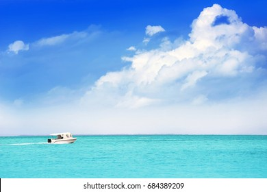 Beautiful seascape with modern boat
