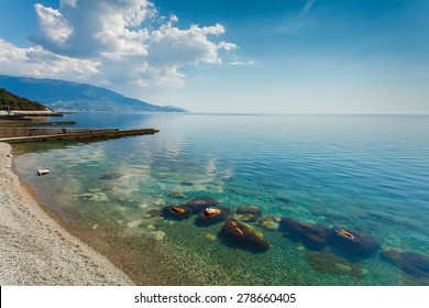 Beautiful seascape in the morning on the southern coast of Crimea