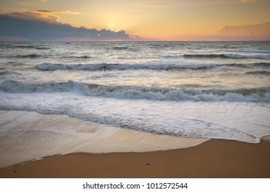 Beautiful seascape. Nature sea and waves at sunset.