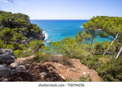 Beautiful seascape near Cala Mitjana on Menorca island, Spain