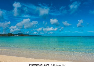 Beautiful seascape in Okinawa, Japan, Travel destination, nature sea view with sand beach, nature background, Tropical beach in summer, copy space