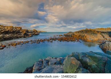 Beautiful seascape on the Coastline of Aberdeen in March