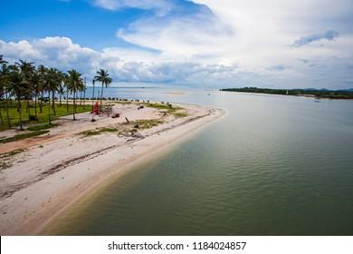 Beautiful seascape of Pasir Padi beach in Pangkal Pinang, Bangka, Indonesia from Emas Bridge.