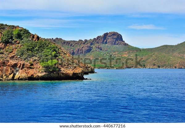 Beautiful seascape with rocky islands. Aegean sea. Turkey