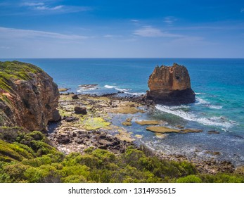 Beautiful seascape with rocky islet at Aireys Inlet on the Great Ocean Road, Victoria, Australia.