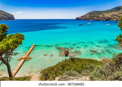 Beautiful seascape scenery on Majorca island, view of Camp de Mar, Spain Balearic Islands, Mediterranean Sea.