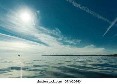Beautiful seascape sea horizon coastline and sky. Tranquil scene. Natural composition of nature. Landscape.