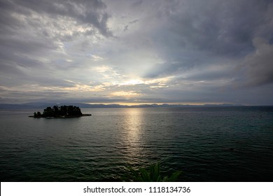 Beautiful seascape and a small island at dawn