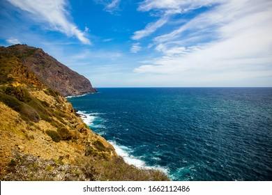 Beautiful seascape in Spain, mountains and sea, Costa Calida, Murcia