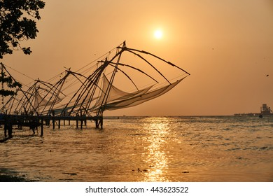 Beautiful seascape at sunset in Fort Kochi, India