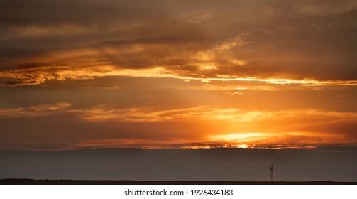 Beautiful seascape, sunset over the sea.