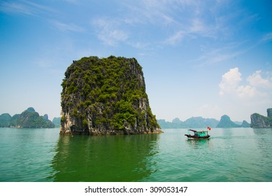 Beautiful seascape with tourist boats in Halong bay, Vietnam