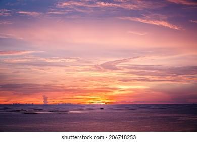 beautiful seascape and the twilight sky