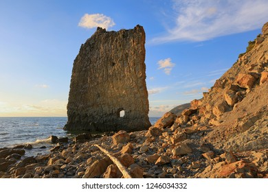 Beautiful seascape with a view of a rock in the form of a sail on the coast of the Krasnodar Territory in Russia