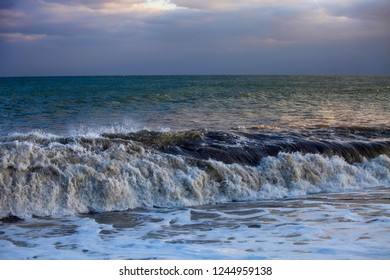 Beautiful seascape with a wave near the shore