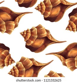 Beautiful seashells seamless pattern. Tileable marine illustration in brown colors for print, design.