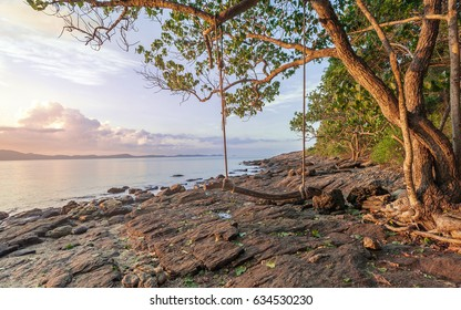 beautiful seashore in morning sunrise with nature wooden swing at Khao Laem Ya National Park Rayong Province Eastern Thailand